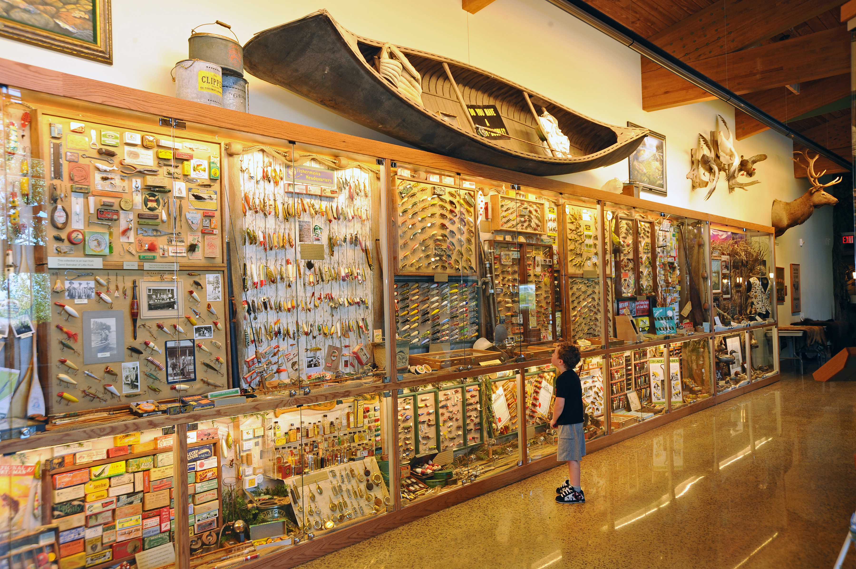 Lures and fishing memorabilia at the Witt Stephens Nature Center