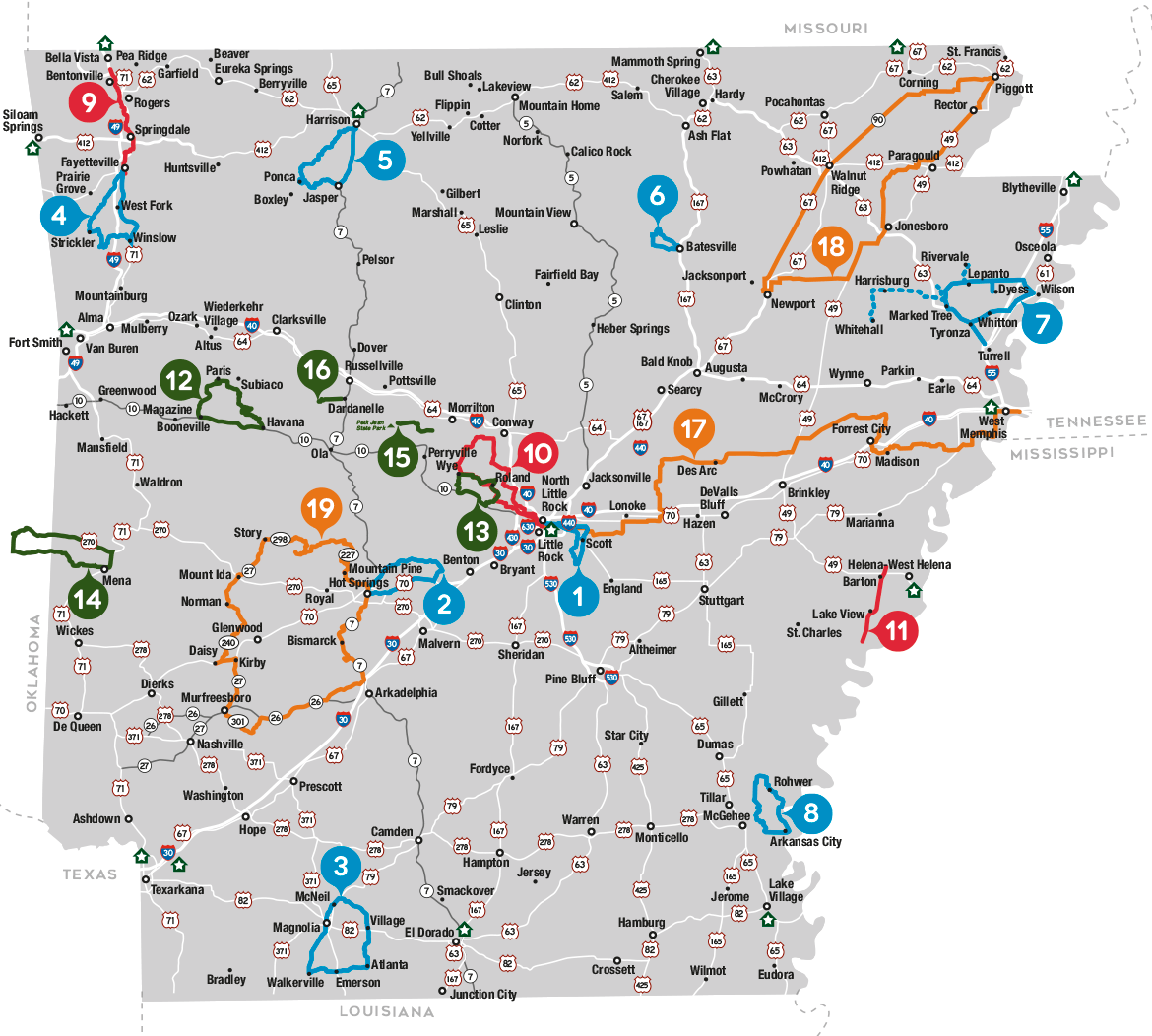 Arkansas Road Cycling Map