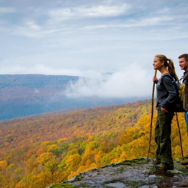 Hikers exploring the fall colors
