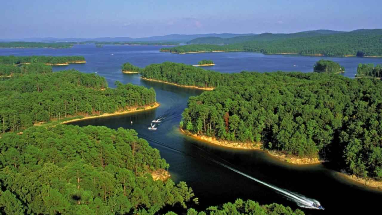 Aerial view of Lake Ouachita, the largest lake in Arkansas