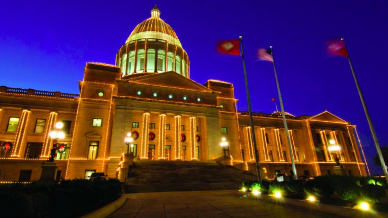 Arkansas State Capitol during the holidays