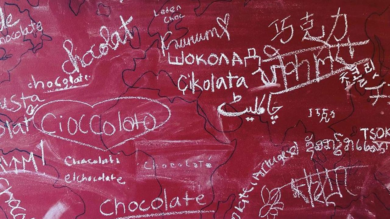 KYYA chalk board with chocolate written in many languages