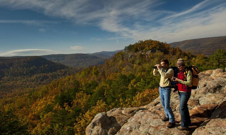 Hiking in the fall in the Ozark Mountains