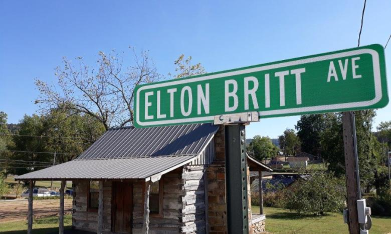 Elton Britt Avenue sign in Marshall