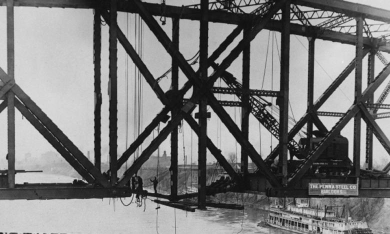 The Harahan Bridge under construction