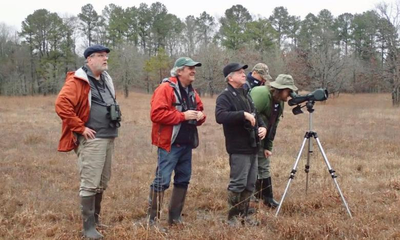 Connecticut Audubon members looking for birds at theWarren Prairie Natural Area