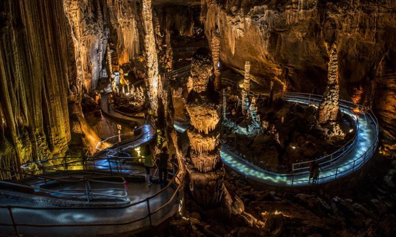 Walking among the glistening formations and towering columns of Blanchard Springs Caverns is a surreal experience.