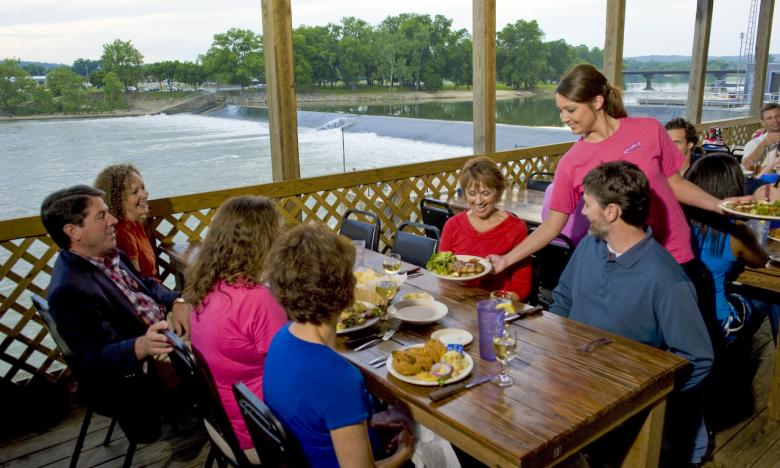 Waterfront dining is a popular choice.