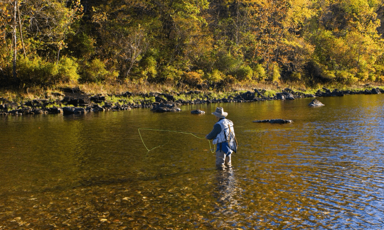 Angler fishing in the White