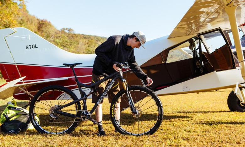 Mountain bikers access backcountry trails via plane