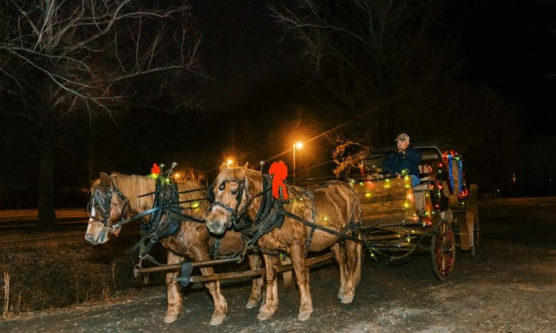 Christmas carriage rides in Clarksville, Arkansas