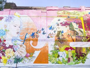 Verna's Dream Mural in Hot Springs, Arkansas, created by Pepe Gaka