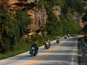 A group of motorcycles taking a ride down Highway 43