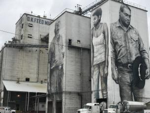 American Heroes mural on the OK Foods feed mill in Fort Smith, AR