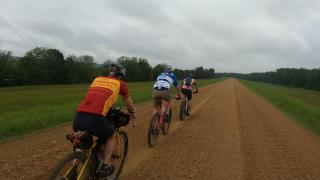 Riding along the St. Francis River levee