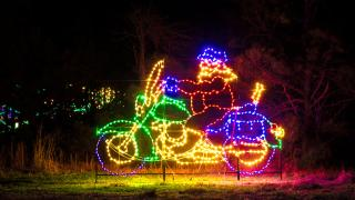 Santa on a motorcycle at Lights of the Delta