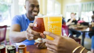 A drink with friends at Superior Bathhouse Brewery, Hot Springs