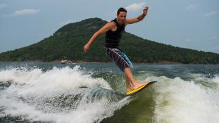 Surfing on Greers Ferry Lake