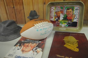 "Paul ""Bear"" Bryant memorabilia in the Bill Mays Annex. Photo by Z. Clift."