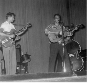 Elvis Presley performing in Texarkana. Photo from the Arkansas Municipal Commission Facebook page.