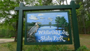 Entrance sign at White Oak Lake State Park. Photo by Z. Clift.