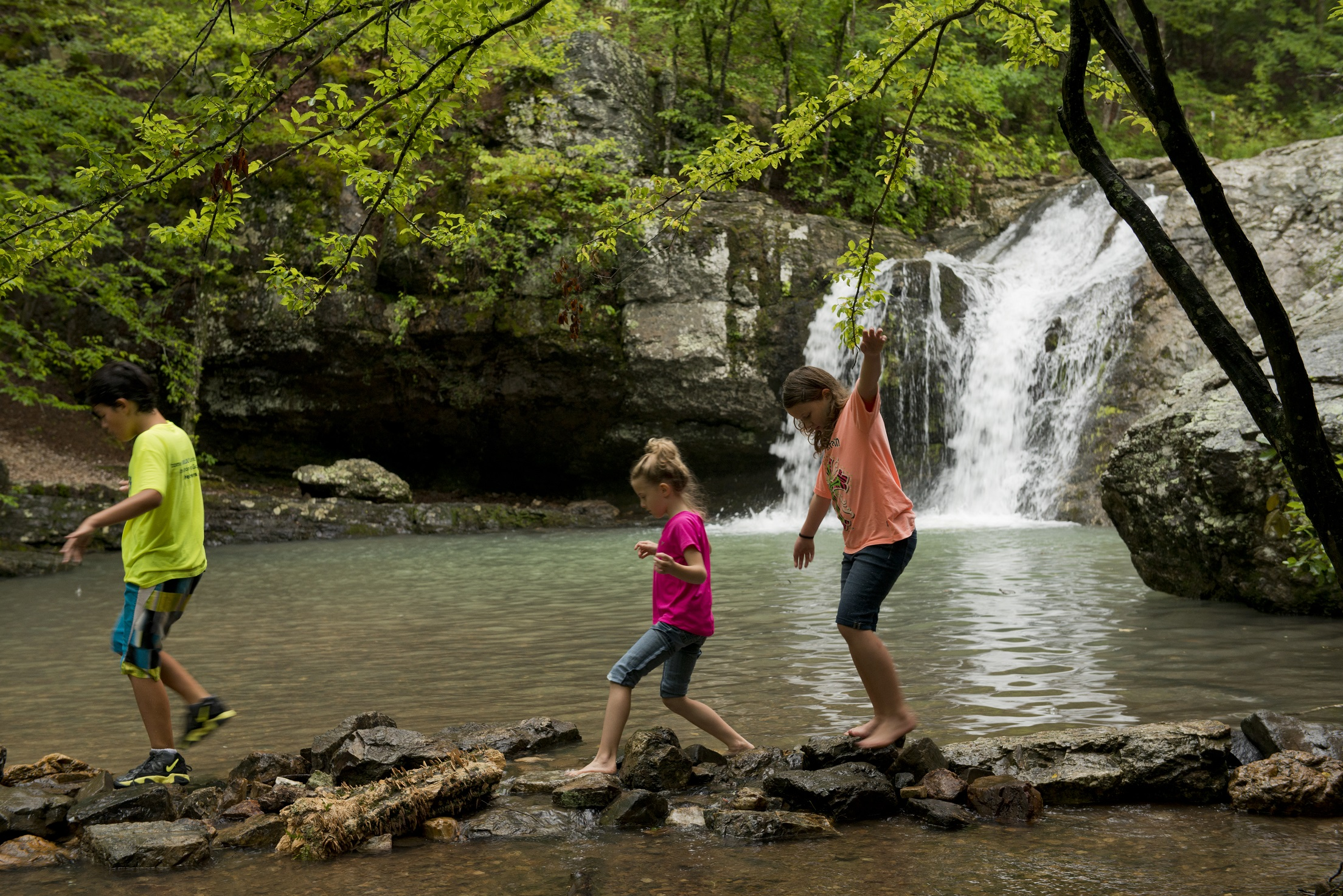 The waterfalls at Lake Catherine State Park are a popular springtime attraction.
