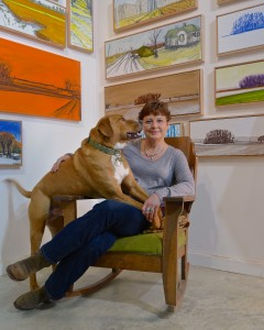 Norwood in the Corner with her artwork and Rosco in her Lap by Juliet Watkins Romano 2015