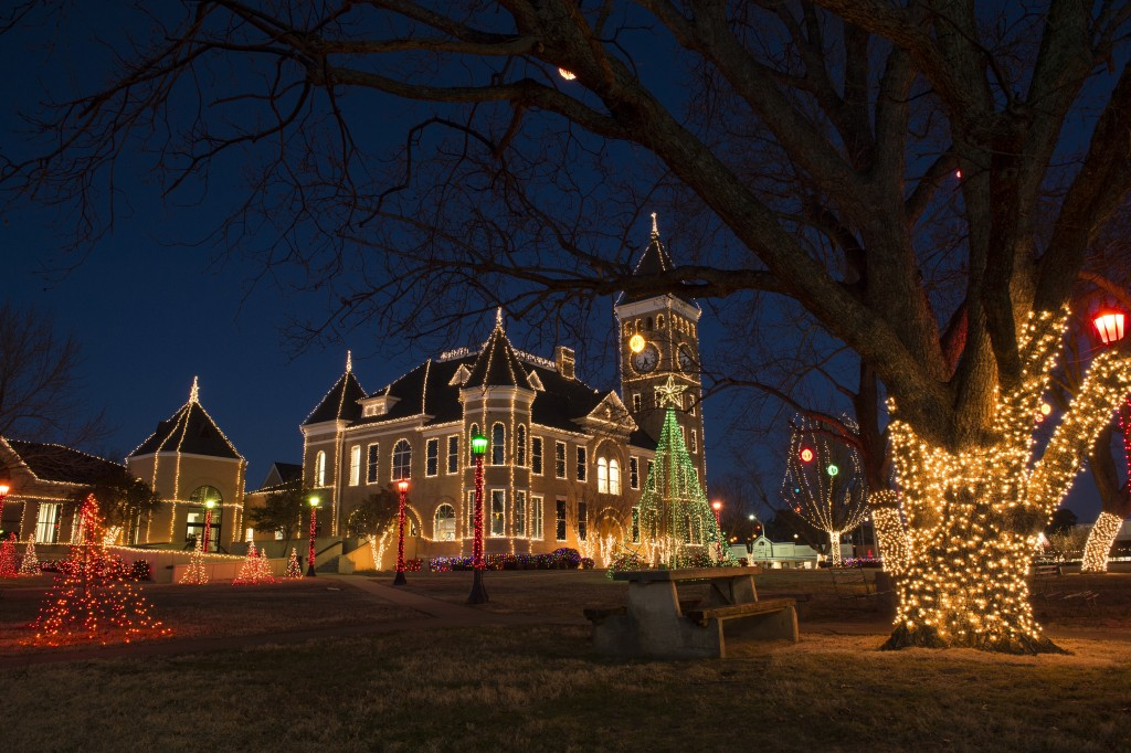 Holiday lights display at the Saline County Courthouse in Benton