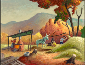 This painting is by Thomas Hart Benton and is called 'Sorghum Mill.