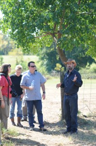 Jody Hardin leads a tour of St. Joseph Farm. Photo by Z. Clift.