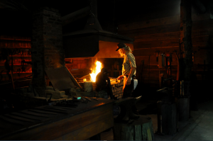Photo of Billy Nations inside the blacksmith shop. Photo by Z. Clift