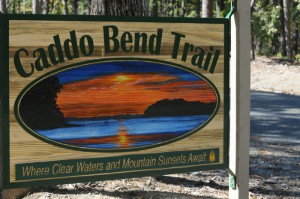 Caddo Bend Trail entrance sign. Photo by Z. Clift.