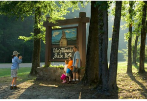 Entrance sign to Crater of Diamonds State Park in Murfreesboro.