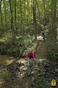 Mountain biking at Enders Fault Trail is one of the many activities that can be found at Woolly Hollow State Park.