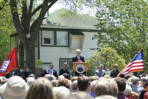 Former U.S. President Bill Clinton speaks during the opening of the Clinton Birthplace Home National Historic Site in Hope in 2011. Photo by Z. Clift