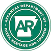 Arkansas Department of Parks, Heritage and Tourism logo.